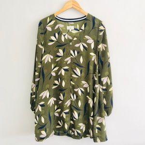 Lou & Grey Green Floral Long Sleeve Swing Dress